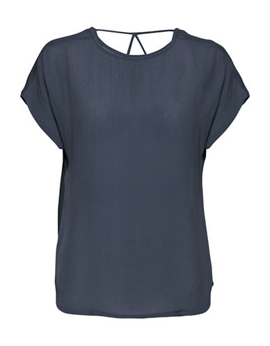 B. Young Haro Crepe Blouse-BLUE-36