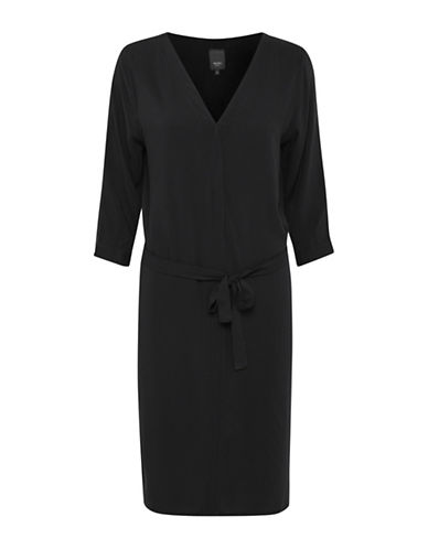 Ichi Vera Shift Dress-BLACK-Small