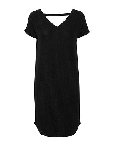 Ichi United Stripe Shift Dress-BLACK-Small