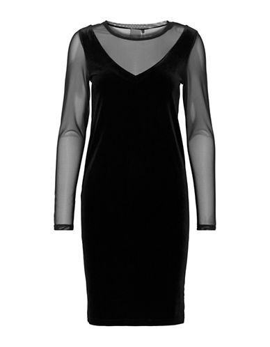 Ichi Kyra Mesh Sheath Dress-BLACK-X-Small
