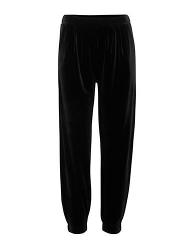 Ichi Kyra Velour Jogger Pants-BLACK-Small