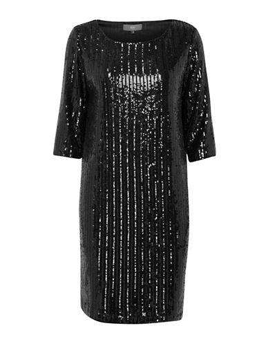 Ichi Keola Sequin Shift Dress-BLACK-X-Small