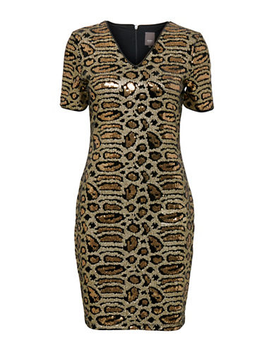 Ichi Katalyn Sequin Cheetah Sheath Dress-MULTI-Small