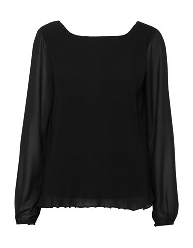 Ichi Amivo Pleated Blouse-BLACK-Medium