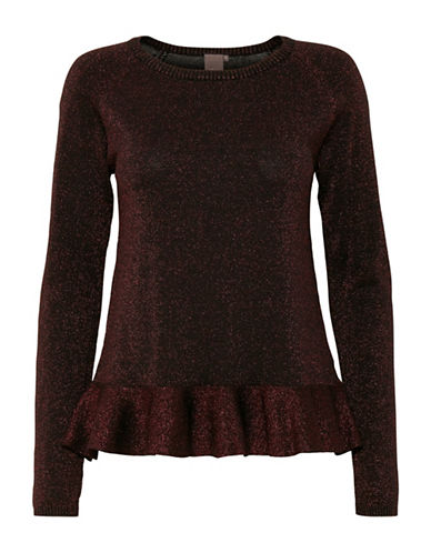 Ichi Mopaz Peplum Top-PURPLE-Large