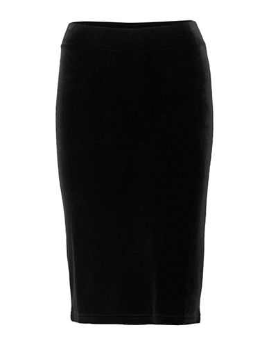 Ichi Korya Velour Pencil Skirt-BLACK-Small