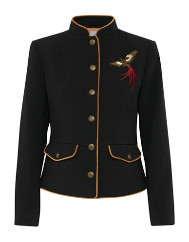B. Young Drama Embroidered Blazer-BLACK-36