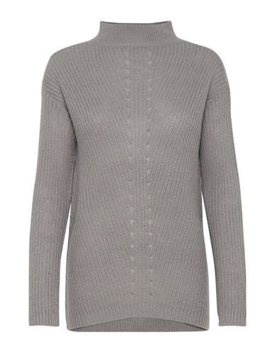 B. Young Narina Knit Turtleneck Sweater-GREY-Medium