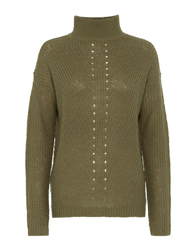 B. Young Narina Knit Turtleneck Sweater-GREEN-Large