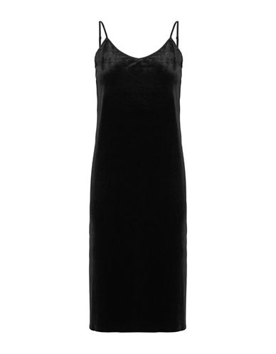B. Young Tafia Velour Slip Dress-BLACK-Small