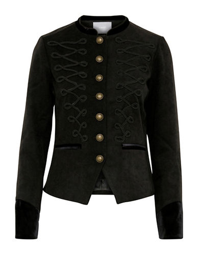 B. Young Pephina Military Blazer-BLACK-38