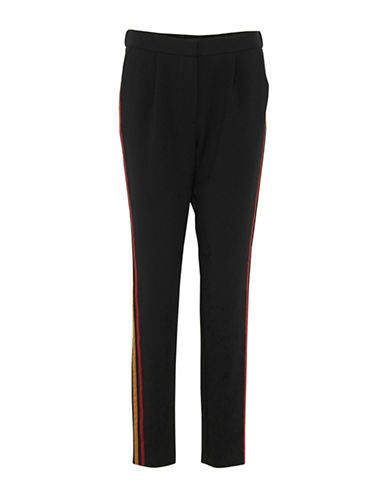 B. Young Drama Side Stripe Colourblock Pants-BLACK-36
