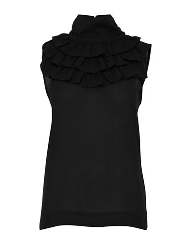 B. Young Forma Ruffle-Trimmed Blouse-BLACK-40
