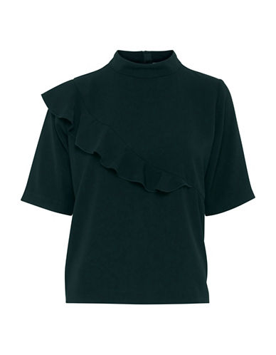 B. Young Filippo Ruffle Shift Blouse-BLUE-38