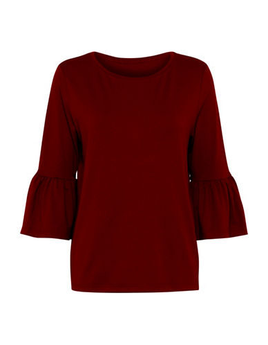 B. Young Temma Ruffle Knit Top-RED-Medium
