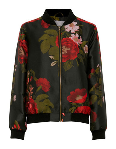 B. Young Desta Floral Bomber Jacket-BLACK MULTI-38