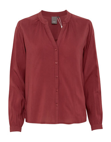 Ichi Gathered Detail Shirt-RED-Medium