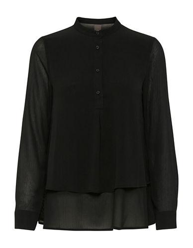 Ichi Akua Buttoned Blouse-BLACK-34