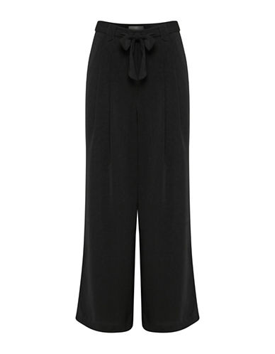 Ichi Self-Tie Culottes Pants-BLACK-36