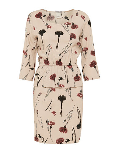 Ichi Floral Print Sheath Dress-BEIGE-38