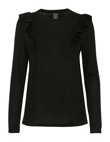 Ichi Linea Ruffle Pullover-BLACK-Small