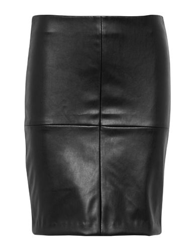 Ichi Froza Faux Leather Skirt-BLACK-38