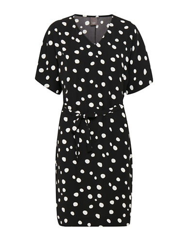 Ichi Floro Printed Dress-BLACK-Medium