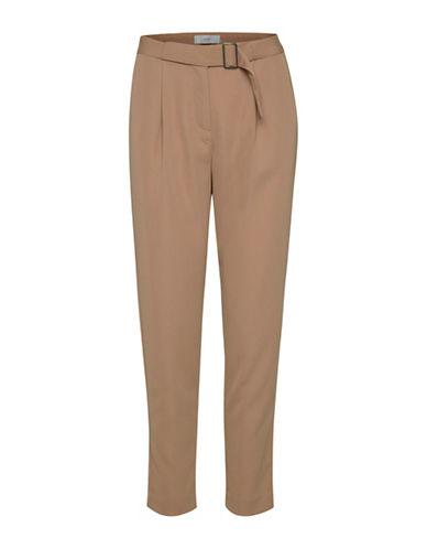 Ichi Belted High-Waist Pants-BEIGE-40