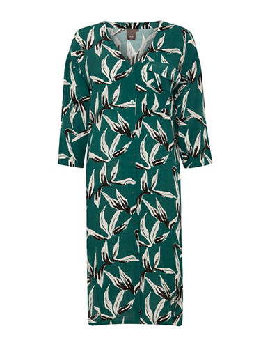 Ichi Printed Quarter-Sleeve Dress-GREEN-Medium