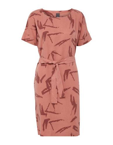 Ichi Plant Print Sheath Dress-PINK-X-Small