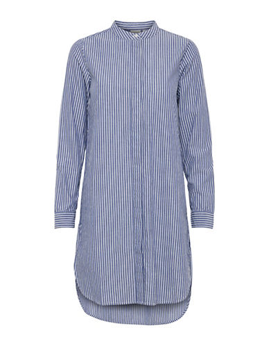 Ichi Branca Stripe Cotton Shirtdress-BLUE-Small