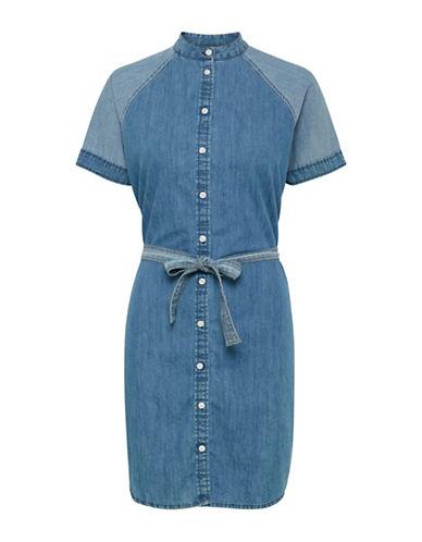 Ichi Belted Denim Dress-BLUE-38
