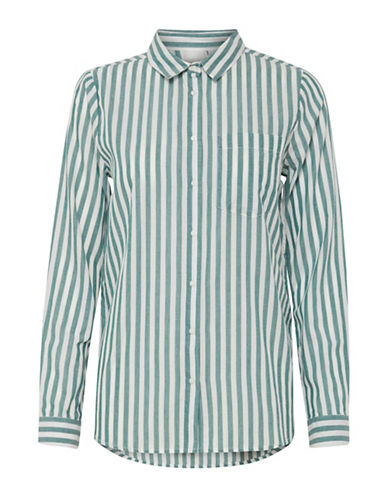 Ichi Asilo Cotton Button-Down Shirt-GREEN-34