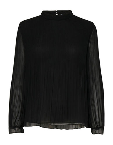 B. Young Fricollo Pleated Blouse-BLACK-40