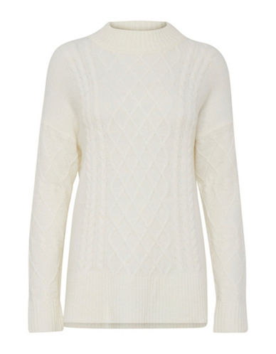 B. Young Opas Cable-Knit Pullover-WHITE-Small