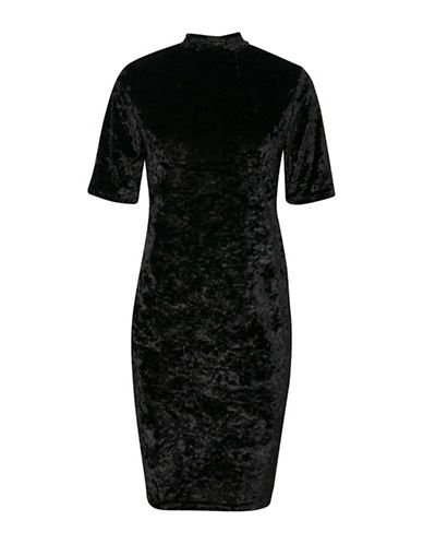 B. Young Ramyra Velour Shift Dress-BLACK-X-Small