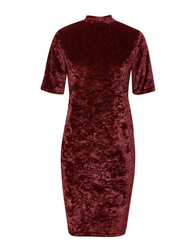 B. Young Ramyra Velour Shift Dress-RED-Small