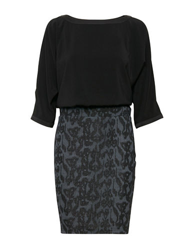 B. Young Sandora Brocade Blouson Dress-BLACK-X-Small