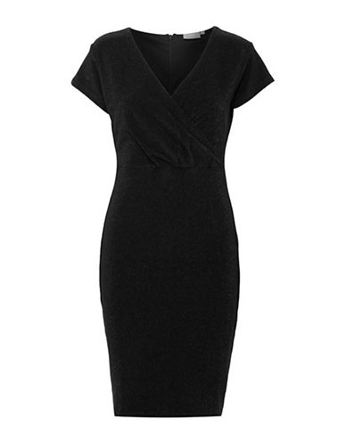 B. Young Soelle Wrap-Front Sheath Dress-BLACK-X-Small