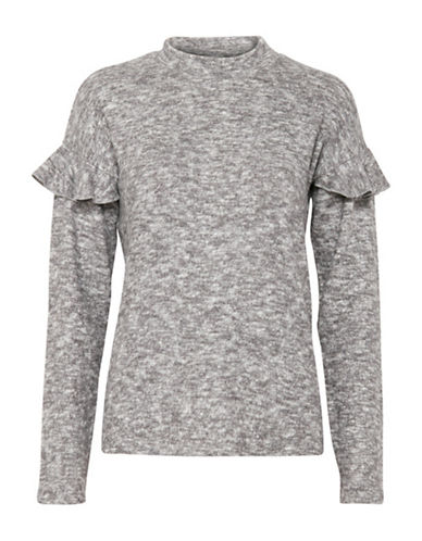 B. Young Panthea Ruffle  Blouse-GREY-X-Small