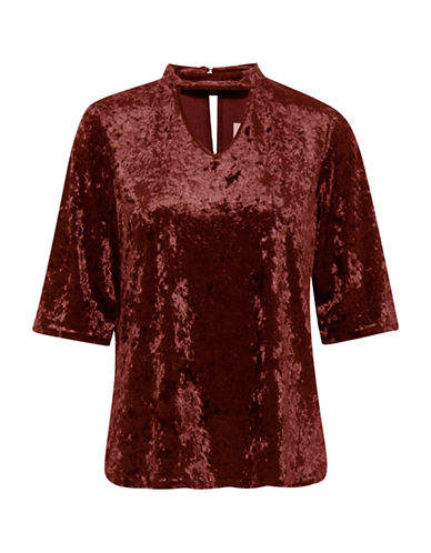 B. Young Ramyra Velour Top-RED-Medium
