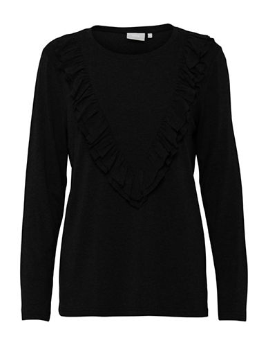 B. Young Trish Ruffled Top-BLACK-Medium