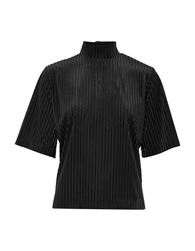 B. Young Urista Striped Turtleneck Top-BLACK-X-Small