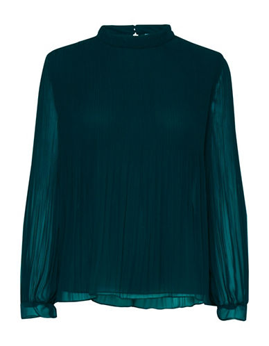 B. Young Fricollo Pleated Blouse-BLUE-38