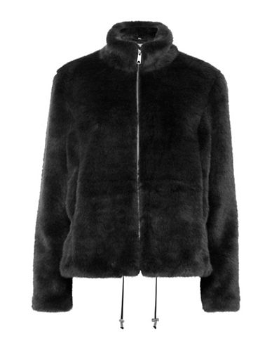 B. Young Asio Chubby Faux Fur Jacket-BLACK-38