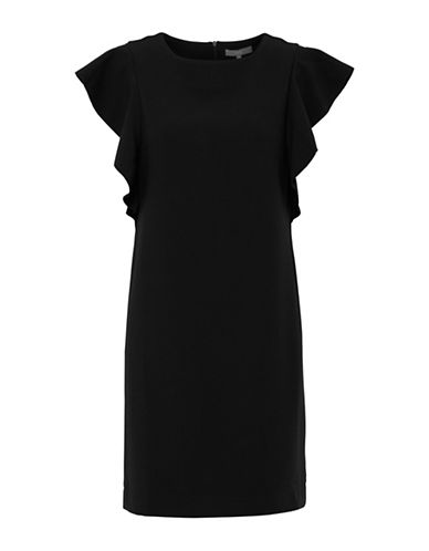 B. Young Diana Ruffled Shift Dress-BLACK-36
