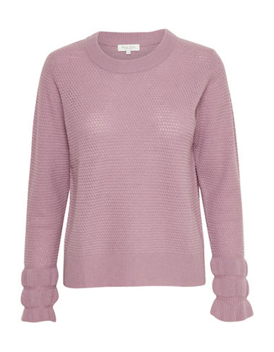 Part Two Joby Ruffle Cuff Wool-Blend Sweater-PINK-X-Large
