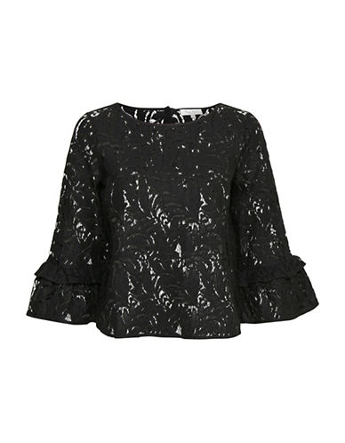 Part Two Lace Flare-Sleeve Blouse-BLACK-36