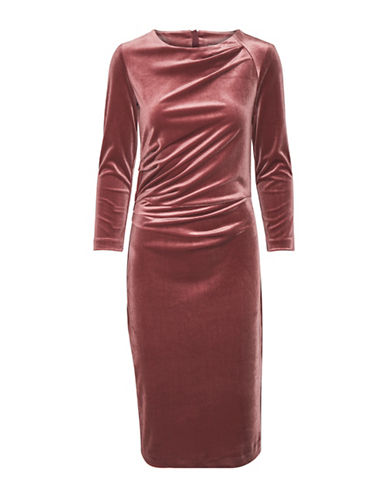 Inwear Nisas Velvet Knee-Length Dress-RED-Medium
