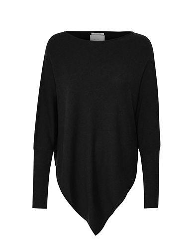 Part Two Florinda Asymmetrical Hem Wool-Blend Poncho-BLACK-Medium/Large